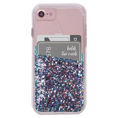 CM035998 Case-Mate iPhone/スマホ汎用 ステッカーポケット カードホルダー機能 Glitter Turquoise