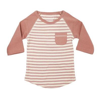 L'ovedbaby Stripe-A-Pose Collection キッズ ストライプ ラグラン Tシャツ sap-k302 モーブ/ベージュ 5歳/6歳