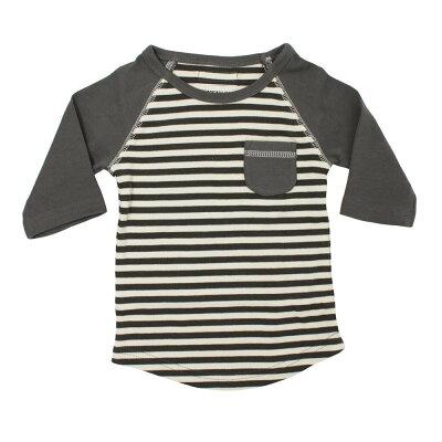 L'ovedbaby Stripe-A-Pose Collection キッズ ストライプ ラグラン Tシャツ sap-k302 グレー/ベージュ・3歳