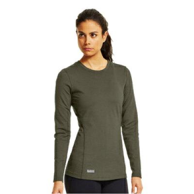 アンダーアーマー Tシャツ 長袖 コールドギア クルー レディース オリーブドラブ XSサイズ ロングTシャツ ロンT 長そで1224397
