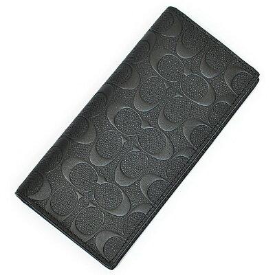 COACH 長財布 メンズ クロスグレインレザー ブレストポケット ウォレット 75365blkシグネチャー 二つ折り長財布 革製 ブラック