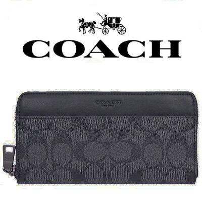 COACH 長財布 メンズ ウォレット シグネチャー アコーディオンジップ ウォレット58112cqbkラウンドファスナー財布 革製