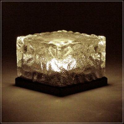 ソーラー充電式 ガラスブロックLED ゴールド 幅70×奥行70×高50mm