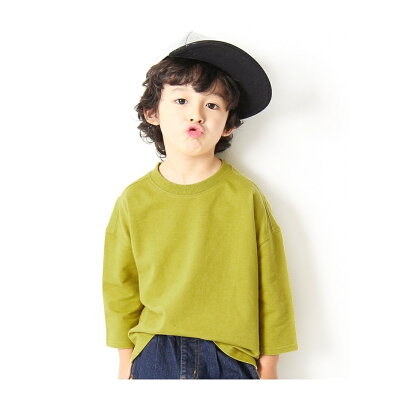 子供服 キッズ ミニ裏毛7分袖Tシャツ 男の子 女の子 トップス 長袖 長そで 韓国子供服