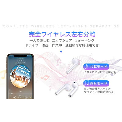 Bluetooth ワイヤレスイヤホン 充電ケース付 ホワイト i9s TWS